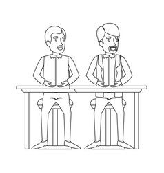 Monochrome silhouette of men sitting in desk one vector