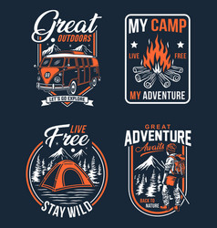 Outdoor camping badges vector