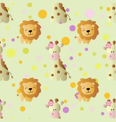 Pattern with cartoon cute toy baby giraffe vector
