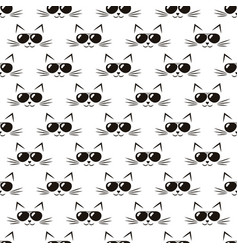 pattern with cute cats with black sunglasses vector image