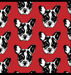 pattern with hand drawn bulldog vector image
