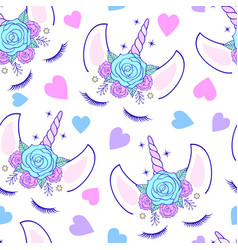 Pattern with head of unicorn vector