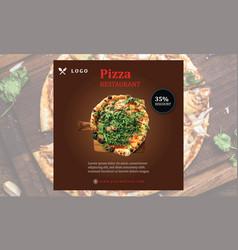 Pizza restaurant big discount social media banner vector