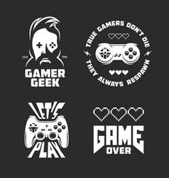 Retro video games related t-shirt design set vector