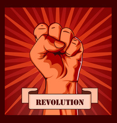 Revolution fist creative poster concept vector