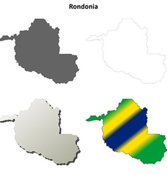 Rondonia blank outline map set vector image