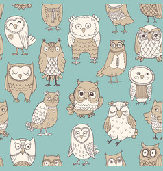 seamless pattern owls stylized hand vector image