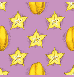 seamless pattern with ripe yellow carambola vector image