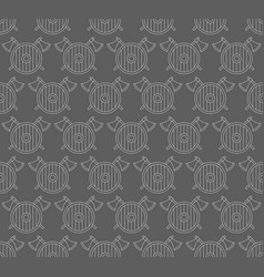 seamless pattern with viking shields and axes vector image