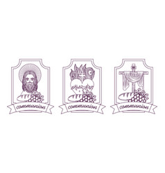 set catholicism faith jesus communion hand drawing vector image