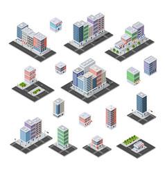Set isometric city vector
