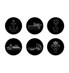 set of maritime shipping icons vector image