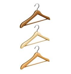 Set of wooden coat hangers vector