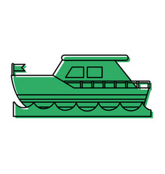 Ship on water sideview with flag icon imag vector