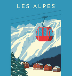 Ski resort with red gondola lift mountain chalet vector