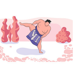 Sumo wrestler on a pale pink background with vector