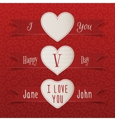 Valentines Day Labels and Ribbons Set vector image