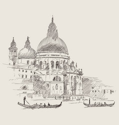 venetian landscape with a boat vector image