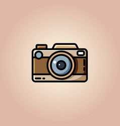 Vintage camera or retro camera flat vector