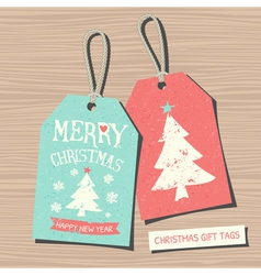 vintage style christmas gift tags in red and blue vector image