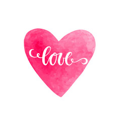 watercolor heart with love inscription isolated vector image