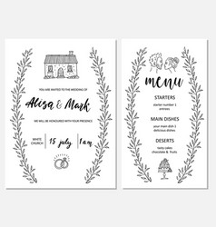 wedding invitation card with map and menu vector image