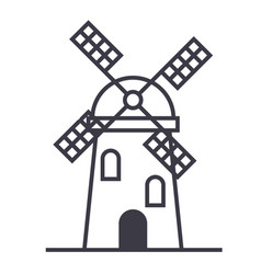 windmill sign line icon sign vector image