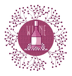 wine round symbol with leaves vector image