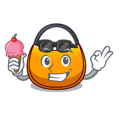 With ice cream beautifully hobo bag on character vector