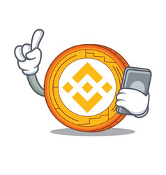 With phone binance coin character catoon vector