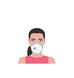 woman in protection medical face mask vector image