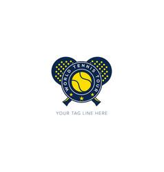 World championship tennis logo badge sport yellow vector