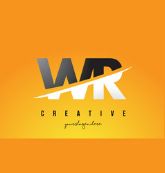 Wr w r letter modern logo design with yellow vector