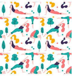 yoga girls in park seamless pattern white vector image