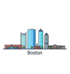 flat line boston banner vector image