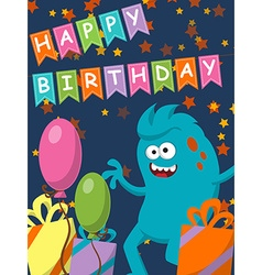 Funny monster with gifts and balloons Happy vector image