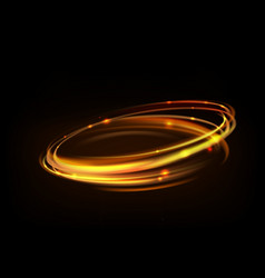 glowing magic fire ring trace gold circle vector image