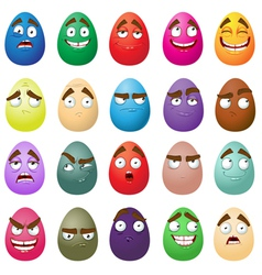 Happy easter smiling eggs vector image