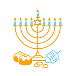 happy hanukkah on white background vector image vector image