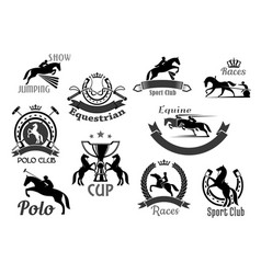 horse racing club emblems or icons set vector image vector image