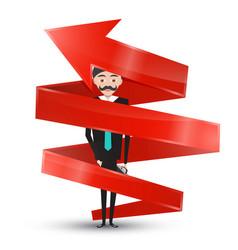 man in suit inside red arrow vector image vector image