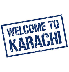 welcome to karachi stamp vector image vector image