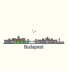 flat line budapest banner vector image vector image