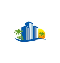 Hotel resort beach travel logo vector