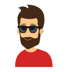 young man with sunglasses avatar character vector image vector image