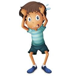 A boy scratching his head vector image vector image