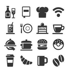 cafe and restaurant icons set on white background vector image vector image