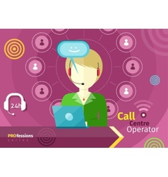 Female call centre operator with headset laptop vector