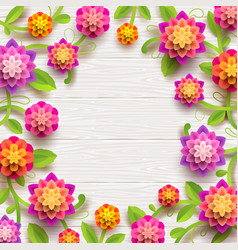 Flowers on a white wooden plank background vector