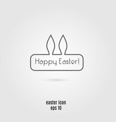 happy easter line icon banner with rabbit vector image
